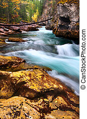 Cascades of Maligne Canyon Canada - Cascading waters through...