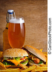 fast food - Fast food with cheeseburger, hot dog, fries and...