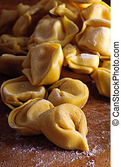 Homemade tortellini - Background with traditional homemade...
