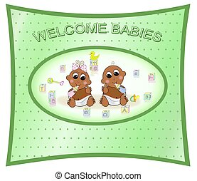Welcome Twin Babies, Boy & Girl - Illustration of girl and...