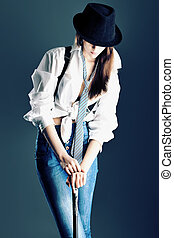 denim style - Shot of an attractive fashionable girl posing...