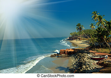 seacoast - Picturesque tropical seacoast with traditional...