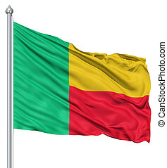 Waving flag of Benin