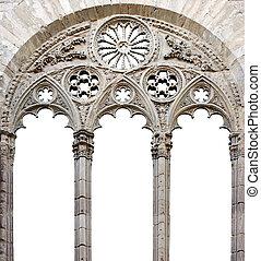 catedral, windown, -, blanco, backgroun
