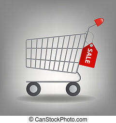 Vector illustration of  empty supermarket shopping cart icon isolated on white background.