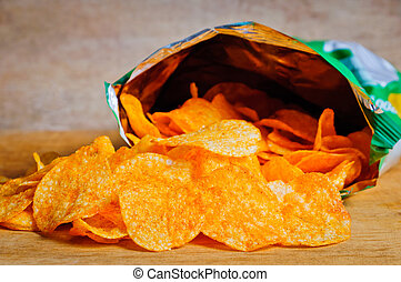 Potato chips - Open bag with potato chips