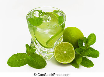 Mojito drink - mojito, limes and mint isolated on a white...