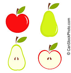 Pear and apple - Apple and pear - vector illustration