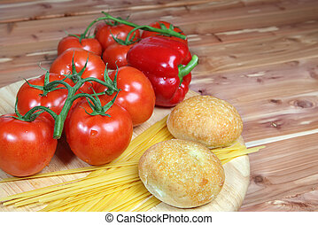 Italian style vegetable ingredients with linguine
