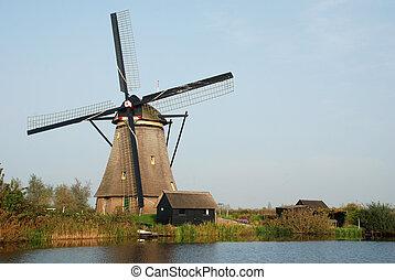 Windmills in Kinderdijk near Rotterdam (Holland)