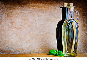 Olive oil and balsamic vinegar with text copy space on a...
