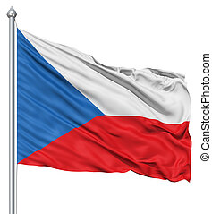 Waving flag of Czech Republic - Flag of Czech Republic with...