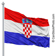 Waving flag of Croatia - Flag of Croatia with flagpole...