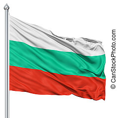 Waving flag of Bulgaria - Flag of Bulgaria with flagpole...