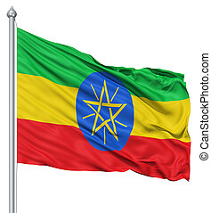 Waving flag of Ethiopia - Flag of Ethiopia with flagpole...