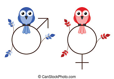 Male and female twig symbols isolated on white background
