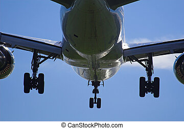 Airplane landing with gears down