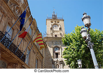 Aix en provence (south of France) - Hotel de ville in the...
