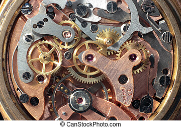 vintage clockwork - Macro shot of the interior of an old...
