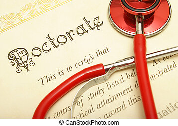 Doctorate - A closeup shot of a doctorate and stethoscope...