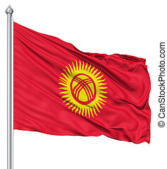 Waving flag of Kyrgyzstan