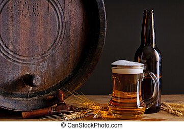 Beer and wooden barrel - Still life composition with wooden...