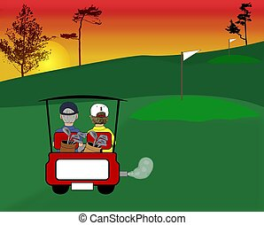 Golfing Illustration - An illustration of a couple riding in...