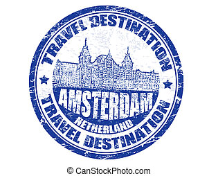 Amsterdam stamp - Grunge rubber stamp with the text travel...