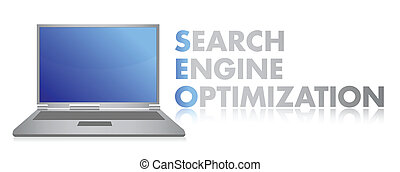 SEO laptop illustration design over white background
