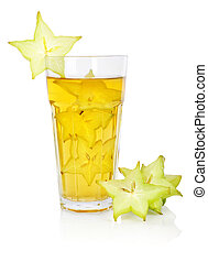 Carambola juice in glass over white background