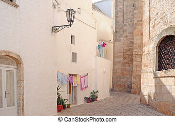 Streetview with laundry and potted plants in a typical small...
