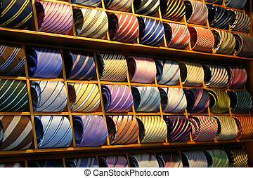Tie Shelf - Fashionable Ties on a shelf in a shop