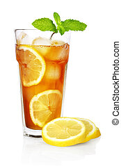 ice tea with lemon - glass of ice tea with lemon and mint on...