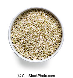Sesame Seeds in White Bowl over White Overhead View