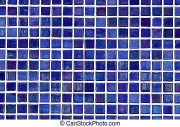 Blue mosaic - Mosaic wall made from small blue square tiles