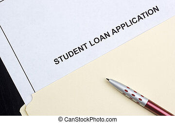 Student Loan Application - Directly above photograph of a...