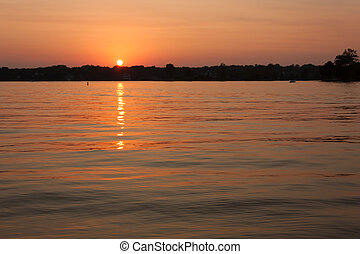 Sunset on Geist Reservoir in Lawrence IN