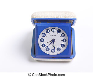 Retro alarm clock - Blue retro travel alarm clock from the...