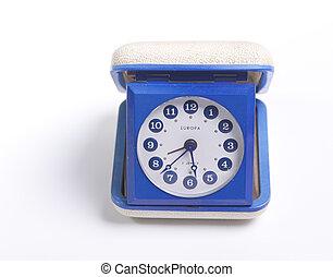 Retro alarm clock - Blue retro travel alarm clock from the...