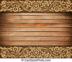 flower carved frame - Pattern of wood frame carve flower on...