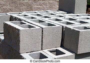arquitetônico, concreto, blocos