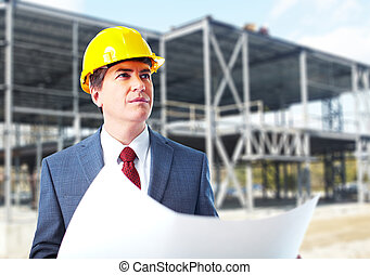 Engineer constructor with a project Industrial worker