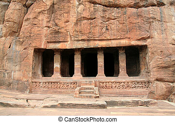 Rock-cut Cave - Front view of fourth cave at Badami,...