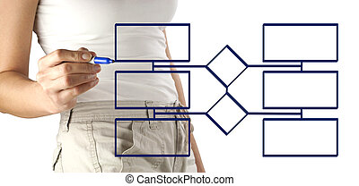 Woman drawing Flow Chart - Woman drawing a blank flow chart...
