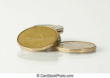 canadian money on white background