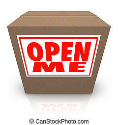 Open Me Label on Cardboard Box Mystery Present Package - The...
