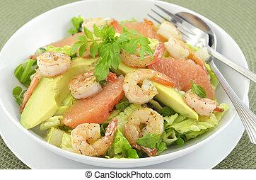 Prawns, grapefruit and avocado salad - Grilled prawns, fresh...