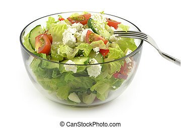 Salad with feta cheese - Single serving of fresh, healthy...