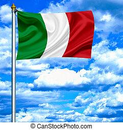 Italy waving flag against blue sky