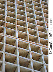 steel grate - Closeup of a steel grate